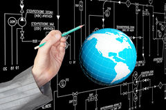 Engineering designing connection tecnology. Creation globalization digitalcommunications Stock Photography