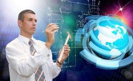 Engineering designing connection tecnology. Creation globalization digitalcommunications Stock Images