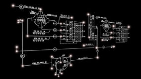 Engineering designing connection tecnology. Engineering scheme on black.Globalization digital connection technology Stock Photography