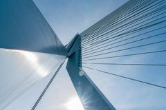 Engineering detail abstarct cable stays of the Erasmus Bridge lo Royalty Free Stock Photos