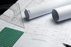 Engineering diagram blueprint paper drafting project sketch arch Royalty Free Stock Images