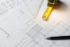 Engineering diagram blueprint paper drafting project sketch arch Royalty Free Stock Photography