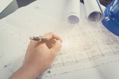 Engineering diagram blueprint paper drafting project sketch arch Stock Photos