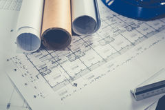 Engineering diagram blueprint paper drafting project sketch arch Stock Image