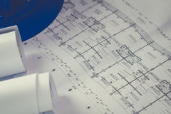 Engineering diagram blueprint paper drafting project sketch arch Stock Photography