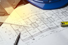 Engineering diagram blueprint paper drafting project sketch arch Stock Photo