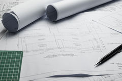 Engineering diagram blueprint paper drafting project sketch Stock Photography