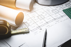 Engineering diagram blueprint paper drafting project Royalty Free Stock Photo