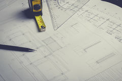 Engineering diagram blueprint paper drafting project sketch Stock Images