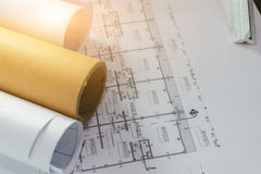 Engineering diagram blueprint paper drafting project Stock Images