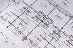 Engineering diagram blueprint paper drafting project sketch Royalty Free Stock Photography