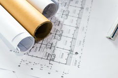 Engineering diagram blueprint paper drafting project Royalty Free Stock Photography