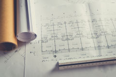 Engineering diagram blueprint paper drafting project Royalty Free Stock Image