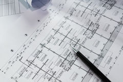 Engineering diagram blueprint paper drafting project Stock Photos