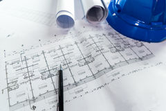 Engineering diagram blueprint paper drafting project sketch Stock Photos