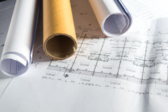 Engineering diagram blueprint paper drafting project sketch Royalty Free Stock Image