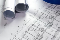 Engineering diagram blueprint paper drafting project sketch Royalty Free Stock Images