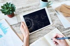 Engineering diagram on device screen. Technology and automation concept. Engineering diagram on device screen. Technology and automation concept stock photos