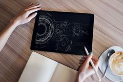 Engineering diagram on device screen. Technology and automation concept. Engineering diagram on device screen. Technology and automation concept stock images