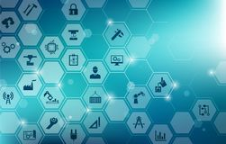 Engineering : digitalization, challenges, innovation. Abstract concept in blue color with connected icons showing engineering concepts, tools and challenges like Stock Image