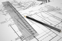 Engineering, drafting and construction concept Stock Photos