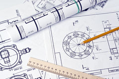 The engineering drawing. On white paper royalty free stock images