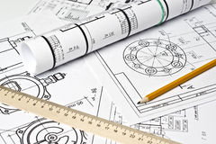 The engineering drawing. On white paper stock photo