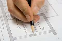 The engineering drawing. On a paper. Pencil Stock Photography