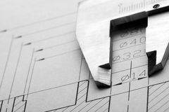 Engineering drawing and caliper Stock Photography