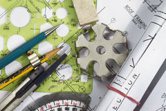 Engineering drawing details. And drafting drawing tools Stock Images