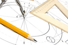 Engineering drawing equipment Royalty Free Stock Images