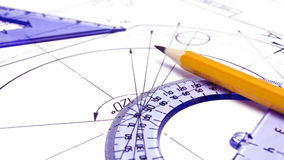 Engineering drawing equipment. On blueprint royalty free stock photo