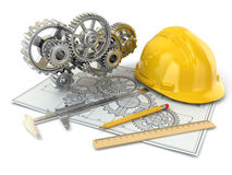 Engineering drawing. Gear, hardhat, pencil and draft. 3d vector illustration
