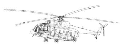 Engineering drawing of helicopter Stock Photo