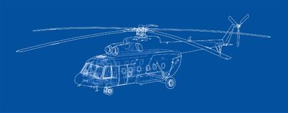 Engineering drawing of helicopter Stock Image