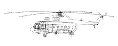 Engineering drawing of helicopter. Vector EPS10 format, rendering of 3d Royalty Free Stock Photo