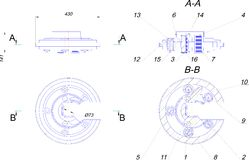 Engineering drawing of industrial equipment Royalty Free Stock Photography