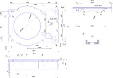 Engineering drawing of industrial equipment Stock Photo