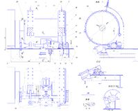 Engineering drawing of industrial equipment Stock Images