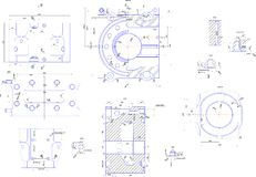 Engineering drawing of industrial equipment Royalty Free Stock Photos