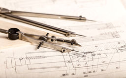 Engineering drawing and instruments Stock Photos