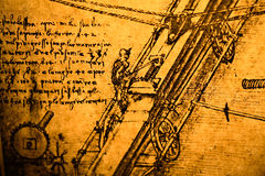 Engineering drawing. Leonardo's Da Vinci engineering drawing from 1503 on textured background Stock Photos