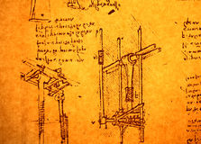 Engineering drawing. Leonardo's Da Vinci engineering drawing from 1503 on textured background Stock Images