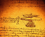 Engineering drawing. Leonardo's Da Vinci engineering drawing from 1503 on textured background Stock Image