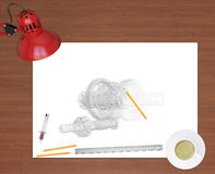 Engineering drawing and office supplies on Royalty Free Stock Photography