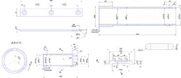 Engineering drawing of steel bush Stock Images