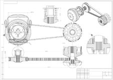 Engineering drawing on a white. 3d. Engineering drawing on a white background. 3d Stock Photography
