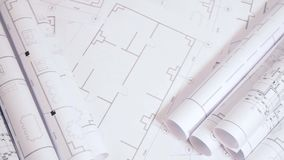 Engineering drawings and blueprint. Paper architectural drawings and blueprint. Engineering blueprint