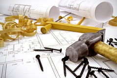 Engineering drawings and building tools Stock Photos