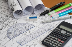 Engineering Drawings with Drafting Pencil, highlighters and measuring tools. Engineering Drawings with Drafting Pencil, calculator, highlighters and measuring royalty free stock photos
